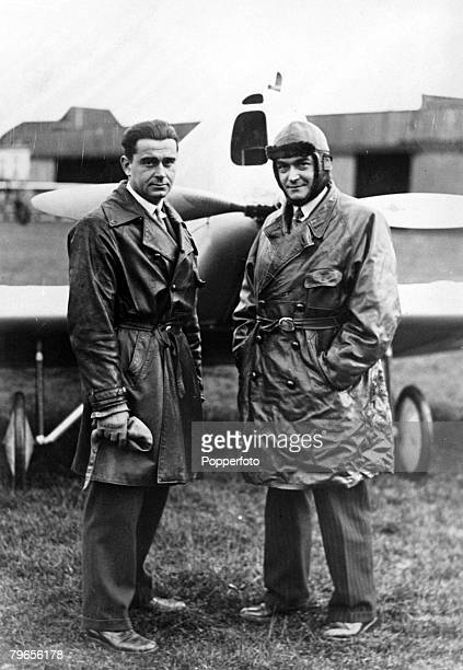 November 1932 French aviators Freton left and Metayer in front of their light plane in which they will make an attempt on the altitude record for...