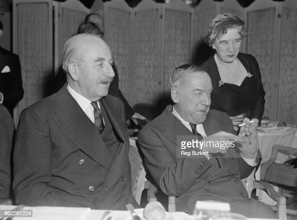 Aviation pioneers Sir Alan Cobham and Jim Mollison attend a Foyles luncheon at the Dorchester Hotel in London, to mark the publication of Sir Vivian...