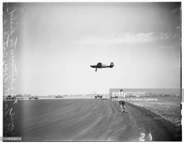 Aviation races from Santa Ana, 15 August 1951. Marion Dietrich;Jan Kietrich;S Richardson;Joyce Hoberg -- 27 years;Frances Dias;Alta Wyatt;Jean...