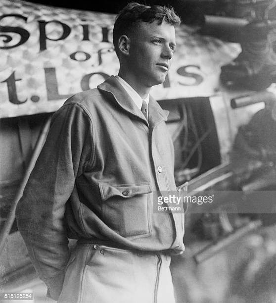 Aviator Charles Lindbergh with Spirit of St. Louis