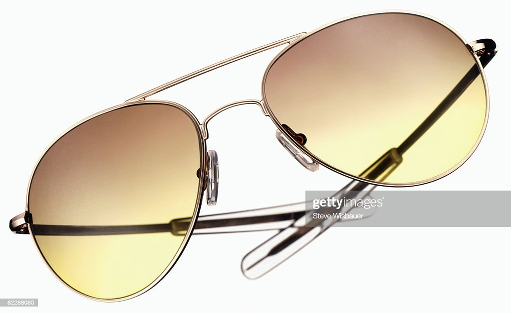 aviator style sunglasses with gol : Stock Photo