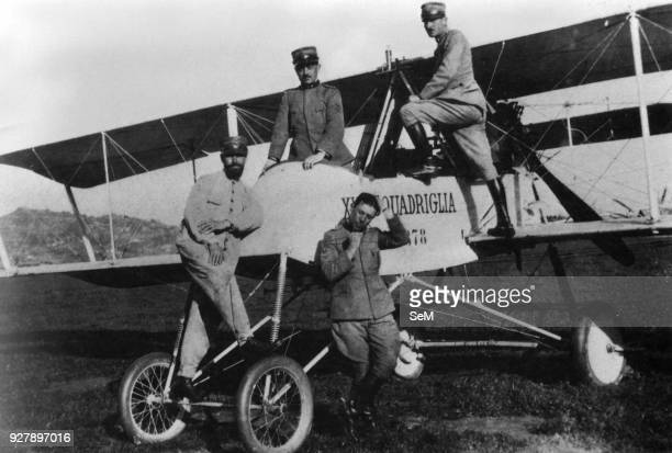 Aviators of the Great War WWI 1915 On June the command of the 26th Squadron was hired by Captain Arduino Minellono posing with one foot on the wing...