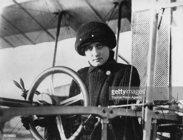 Aviatrix Baroness Raymonde de Laroche at the wheel of her aeroplane She was the first woman to receive a pilot's licence in 1909 and was killed in an...