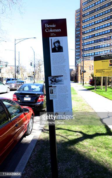 Aviatrix Bessie Coleman Historic marker in Chicago Illinois on April 20 2019