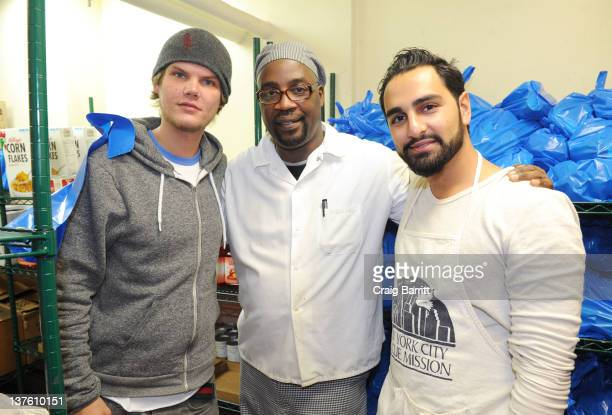 Avicii and Ash Pournouri support Feeding America by volunteering at the New York City Rescue Mission during the House For Hunger Tour New York City...