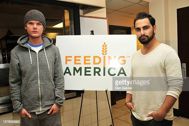 Avicii and manager and executive producer Arash Ash Pournouri visit the NYC Rescue Mission on January 23 2012 in New York City