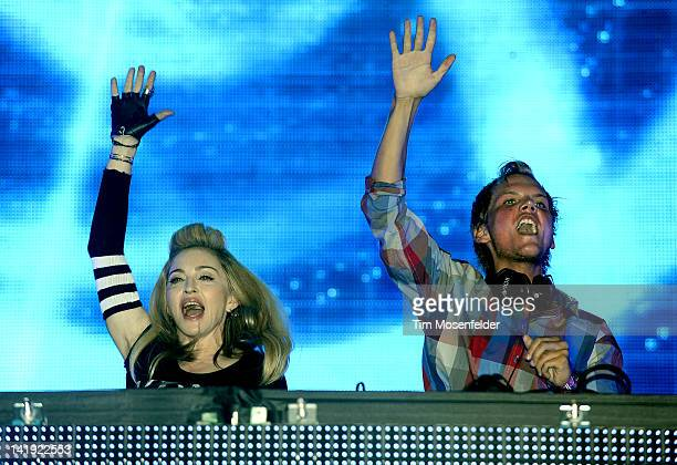 Avicii is joined by Madonna at Day Two of Ultra Music Festival 14 at Bayfront Park on March 24 2012 in Miami Florida