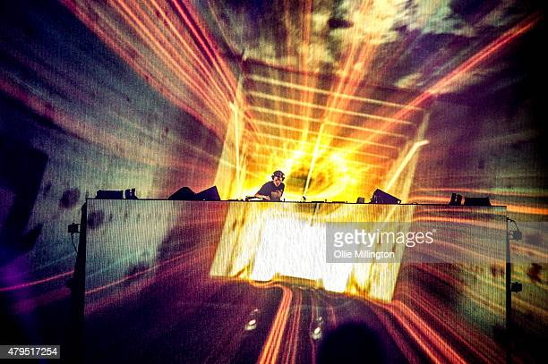 Avicii performs headlining the main stage at the end of Day 2 of Wireless Festival at Finsbury Park on July 4 2015 in London England