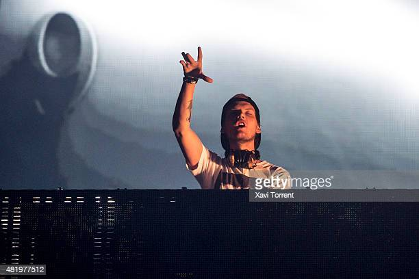 Avicii performs on stage during day 2 of Hard Rock Rising Festival on July 25 2015 in Barcelona Spain