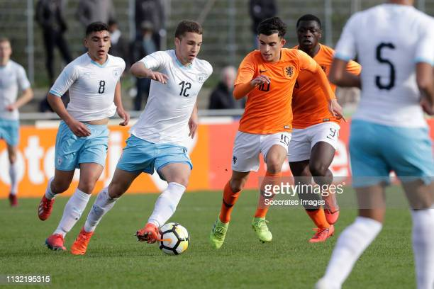 Aviel Yosef Zargary of Israel U17Mohammed Taabouni of Holland U17 during the match between Holland U17 v Israel U17 at the Sportpark Zegersloot on...
