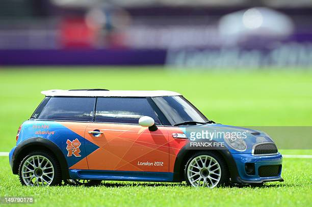 AView of a remote control car used to bring back javelins during the women's heptathlon javelin throw qualifications at the athletics event of the...