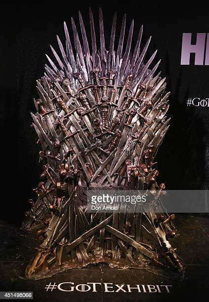 Aview of the Iron Throne made from the swords of the slaughtered kings is seen at the launch of the Game Of Thrones Exhibition at Museum of...