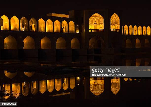 Aview of the khaju bridge at night highlighting the arches, isfahan province, isfahan, Iran on January 4, 2016 in Isfahan, Iran.