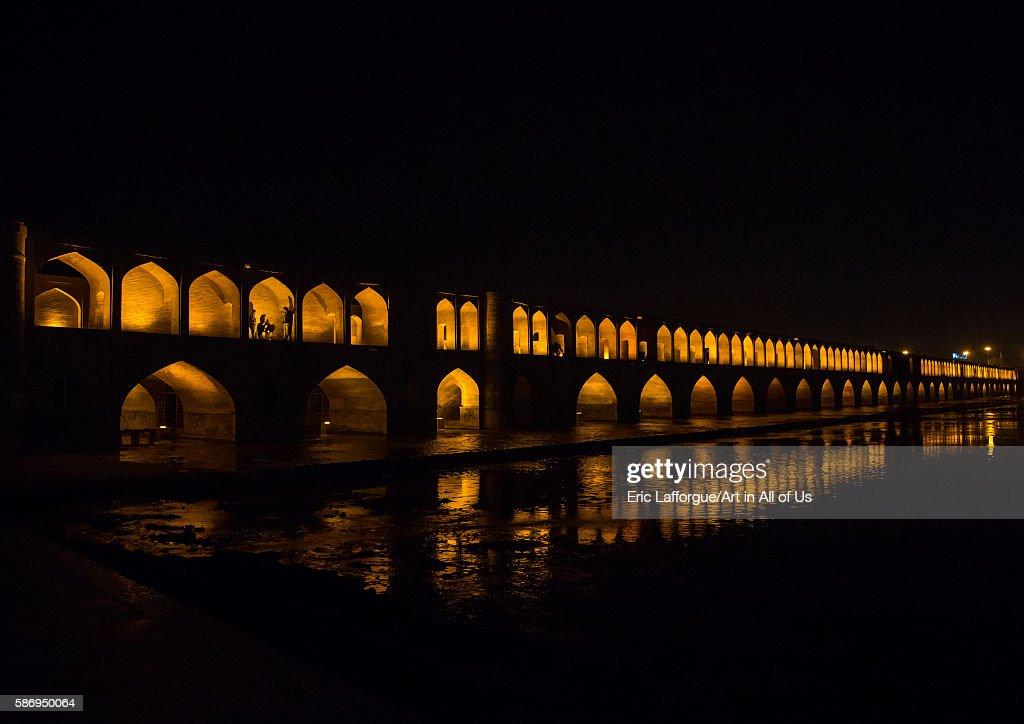 A View Of The Si-o-seh Bridge At Night Highlighting The 33 Arches, Isfahan Province, Isfahan, Iran : News Photo