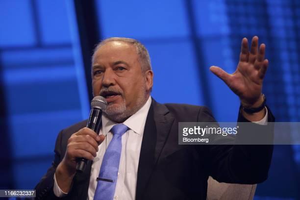 Avigdor Liberman former Israeli defense minister gestures as he speaks at the Channel 12 News Conference in Tel Aviv Israel on Thursday Sept 5 2019...