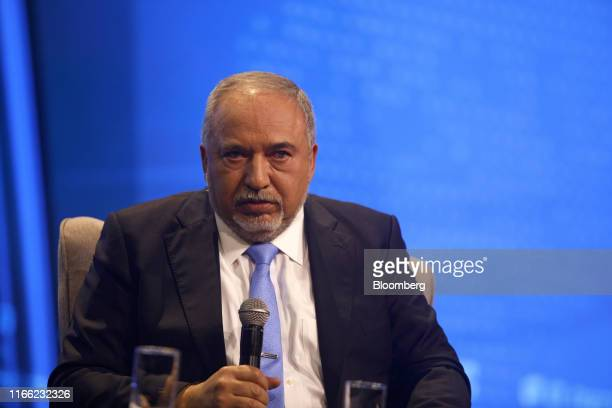 Avigdor Liberman former Israeli defense minister pauses during an interview at the Channel 12 News Conference in Tel Aviv Israel on Thursday Sept 5...