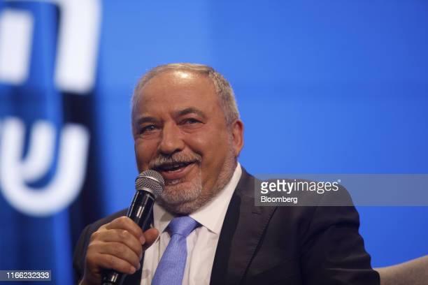 Avigdor Liberman former Israeli defense minister reacts as he speaks at the Channel 12 News Conference in Tel Aviv Israel on Thursday Sept 5 2019...