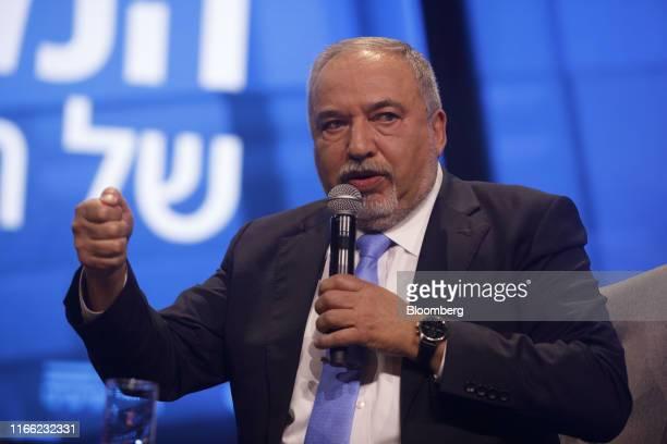 Avigdor Liberman former Israeli defense minister speaks at the Channel 12 News Conference in Tel Aviv Israel on Thursday Sept 5 2019 AvigdorLiberman...