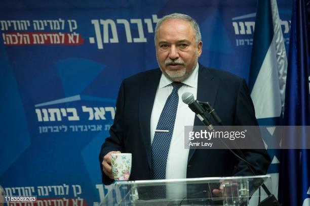 Avigdor Lieberman, head of Israel Beitenu Party, speaks to the press on November 20, 2019 in Jerusalem, Israel. Israel may face a third election...