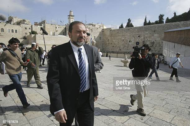Avigdor Lieberman head of the Israeli party Yisrael Beitenu arrives to pray at Western Wall Judaism's holiest site March 2006 in Jerusalem's Old City...