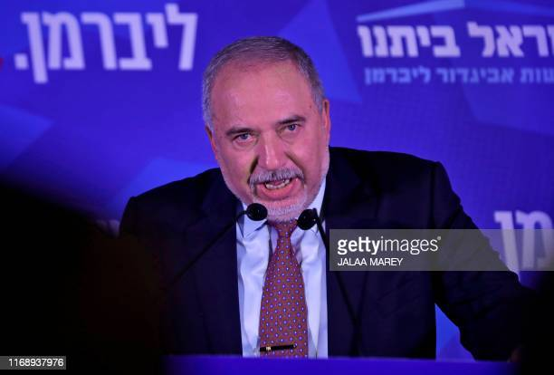 Avigdor Lieberman, leader of the Israeli secular nationalist Yisrael Beiteinu party, gives an address at the party's electoral headquarters in...