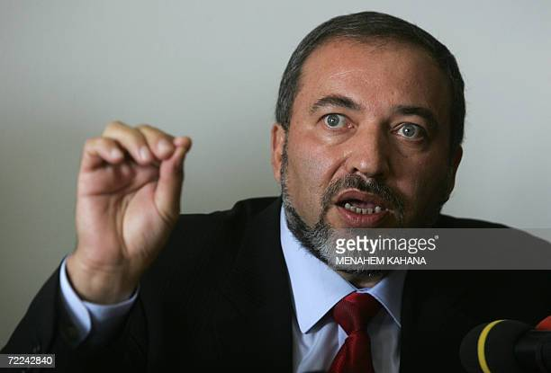 Avigdor Lieberman the head of ultranationalist party Yisrael Beitenu talks during a party meeting in Jerusalem 23 October 2006 Israeli Prime Minister...