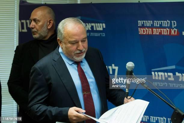 Avigdor Lieberman, Yisrael Beiteinu Party leader attend a press conference on December 11, 2019 in Jerusalem, Israel. Israel heads to Third election...