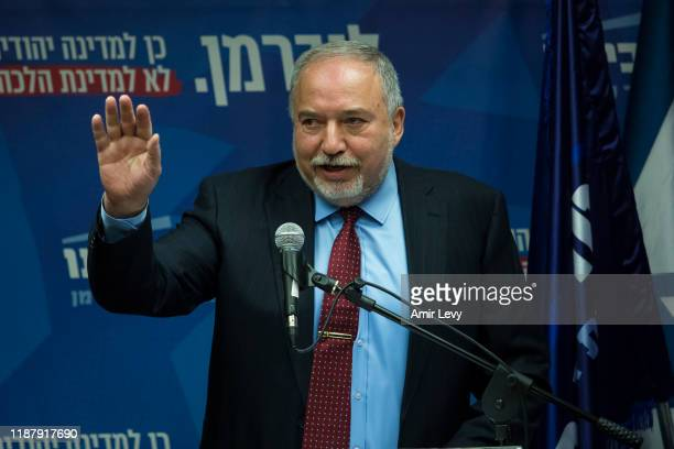Avigdor Lieberman, Yisrael Beiteinu Party leader speaks at a press conference on December 11, 2019 in Jerusalem, Israel. Israel heads to third...