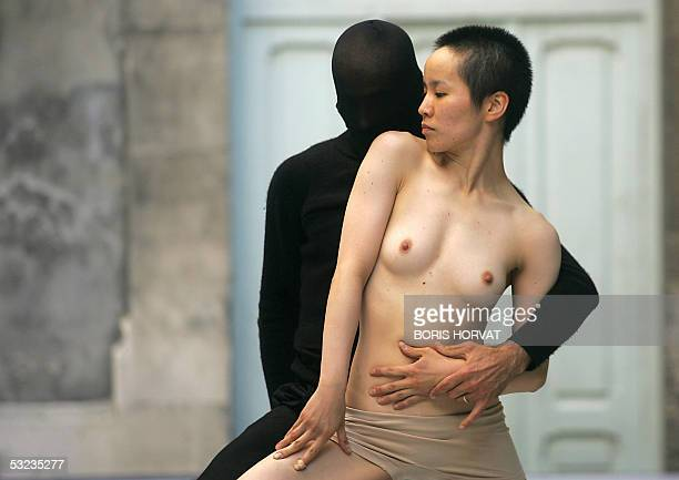 Japanese dancer Sawami Fukuoka performs in 'Double point Hell' directed by Italian Emio Greco 13 July 2005 during the Avignon Theatre Festival held...