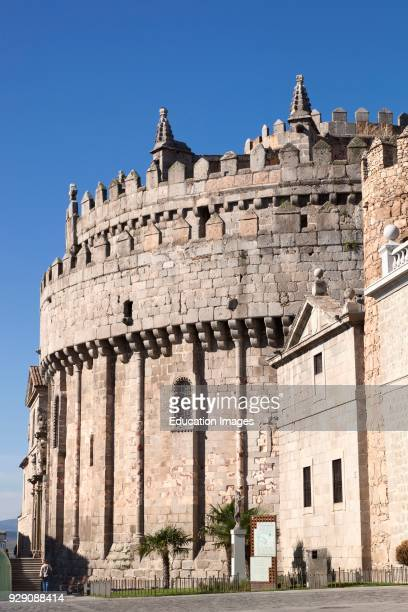 Avila Avila Province Spain The apse of the RomanesqueGothic cathedral which was built partly as a fortress The apse is a fortified tower embedded...