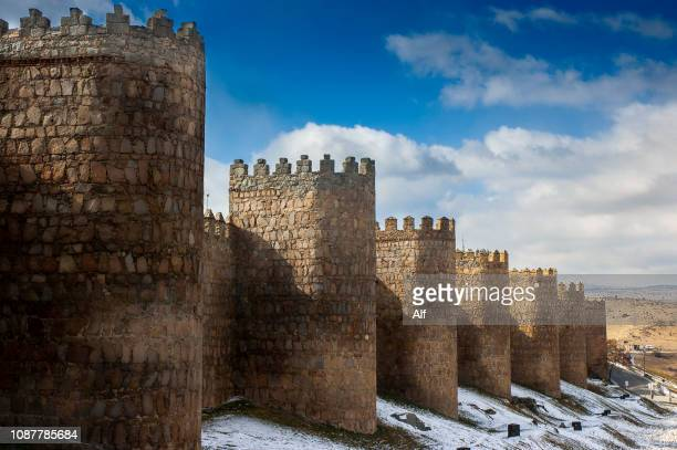 avila city walls (canvases and cubes of san vicente)  , avila, spain - avila stock photos and pictures