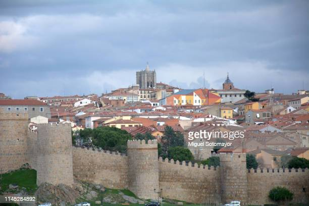 avila from the viewpoint of the cuatro postes - avila stock photos and pictures
