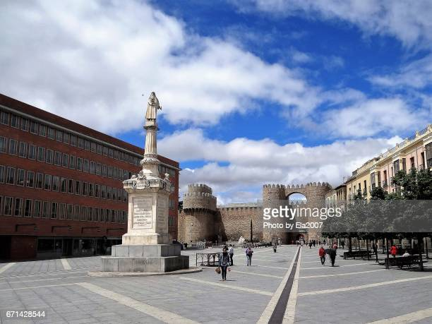 avila in the center with city wall - avila stock photos and pictures