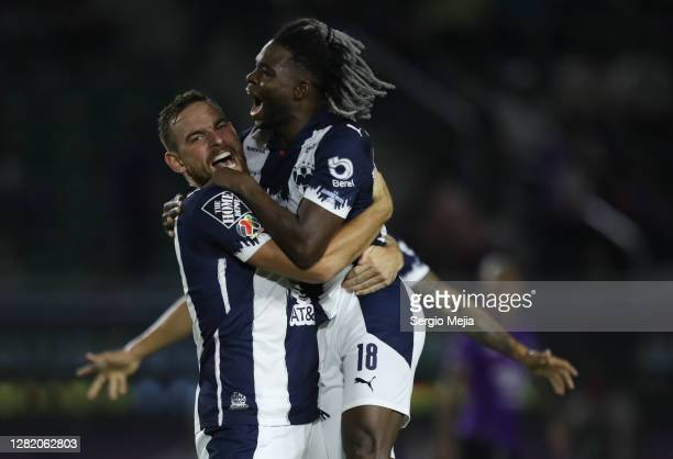 Aviles Hurtado and Vincent Janssen celebrate the first goal of Monterrey during the 15th round match between Mazatlan FC and Monterrey as part of the...