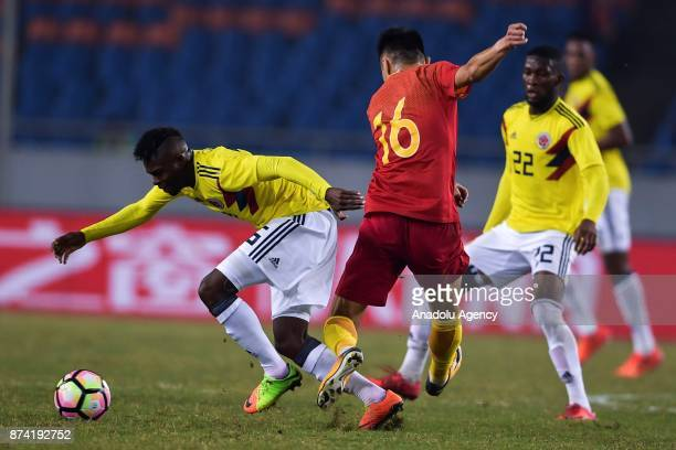 Aviles Hurtado of Colombia in action during International Friendly Football Match between China and Colombia at the Chongqing Olympic Sports Center...
