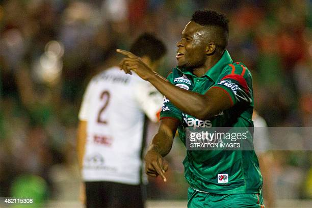 Aviles Hurtado of Jaguares celebrates after scoring the second goal of his team goal during a match between Chiapas and Atlas as part of 3rd round...