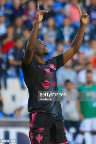 Aviles Hurtado of Monterrey celebrates after scoring his team's first goal during the 12th round match between Queretaro and Monterrey as part of the...