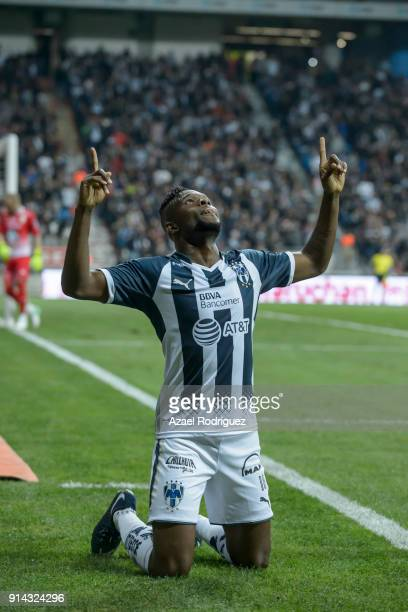 Aviles Hurtado of Monterrey celebrates after scoring his team's first goal during the 5th round match between Monterrey and Leon as part of the...