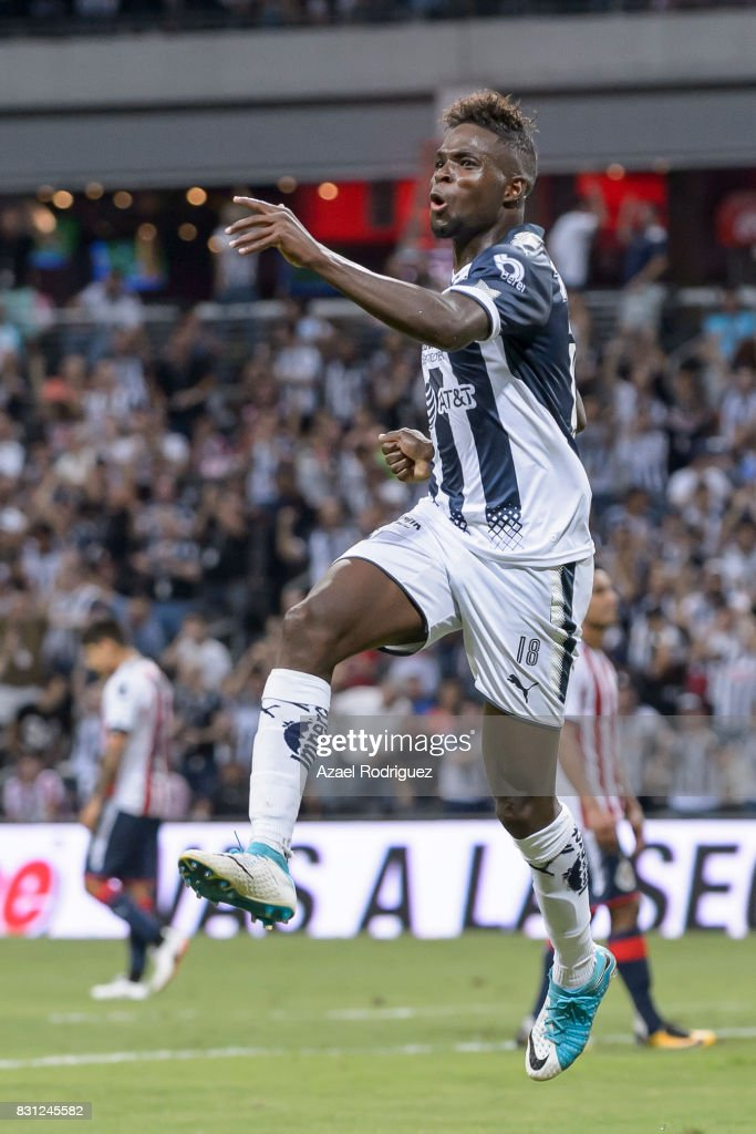 Aviles Hurtado of Monterrey celebrates after scoring his team's fourth goal during the 4th round match between Monterrey and Chivas as part of the Torneo Apertura 2017 Liga MX at BBVA Bancomer Stadium on August 12, 2017 in Monterrey, Mexico.