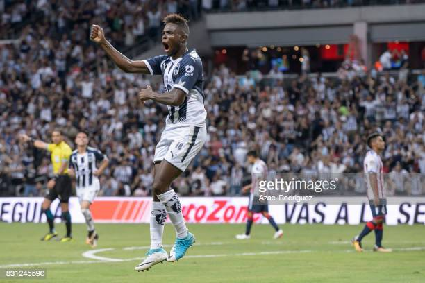 Aviles Hurtado of Monterrey celebrates after scoring his team's fourth goal during the 4th round match between Monterrey and Chivas as part of the...