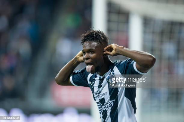 Aviles Hurtado of Monterrey celebrates after scoring his team's fourth goal during the 5th round match between Monterrey and Leon as part of the...