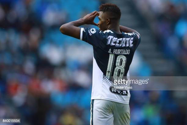 Aviles Hurtado of Monterrey celebrates after scoring the first goal of his team during the seventh round match between Cruz Azul and Monterrey as...