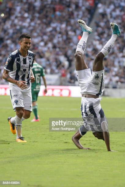Aviles Hurtado of Monterrey celebrates after scoring the opening goal during the 9th round match between Monterrey and Atlas as part of the Torneo...