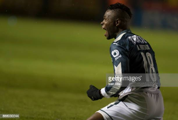 Aviles Hurtado of Monterrey celebrates the first goal of his team during the first leg of the Torneo Apertura 2017 Liga MX final between Tigres UANL...