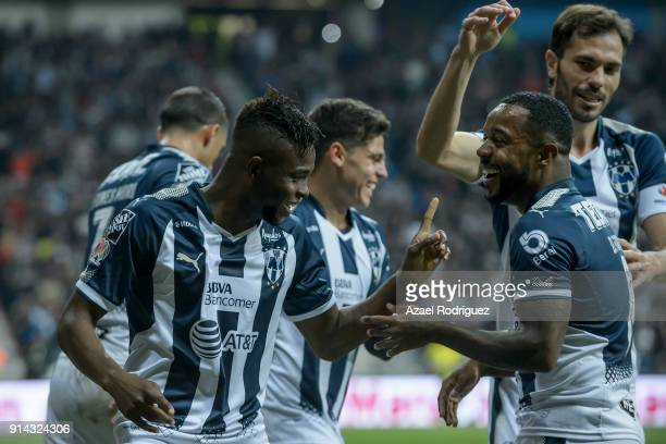 Aviles Hurtado of Monterrey celebrates with teammates after scoring his team's first goal during the 5th round match between Monterrey and Leon as...