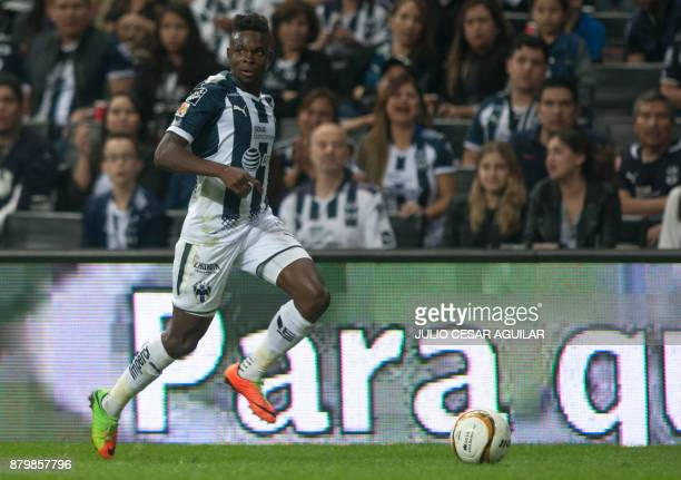 Aviles Hurtado of Monterrey controls the ball during their quarter final Mexican Apertura 2017 tournament football match against Atlas at the BBVA...