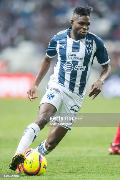 Aviles Hurtado of Monterrey drives the ball during the third round match between Monterrey and Tijuana as part of Torneo Clausura 2018 Liga MX at...