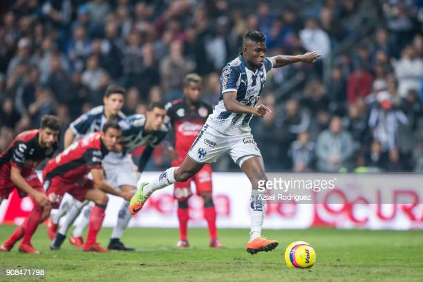 Aviles Hurtado of Monterrey takes a penalty kick during the third round match between Monterrey and Tijuana as part of Torneo Clausura 2018 Liga MX...