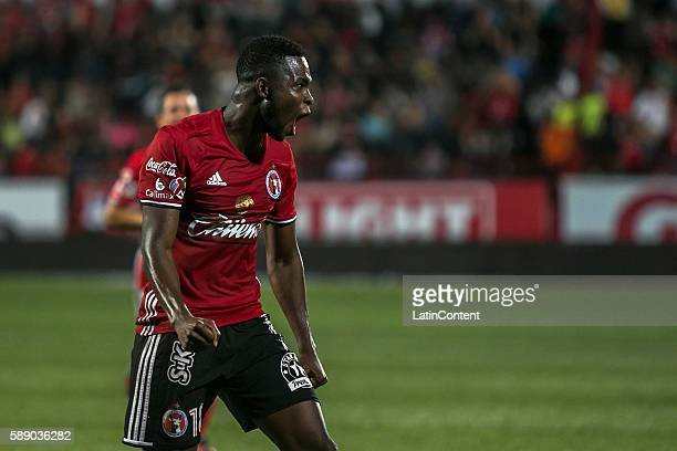 Aviles Hurtado of Tijuana celebrates after scoring his team's second goal during the 5th round match between Tijuana and Leon as part of the Torneo...
