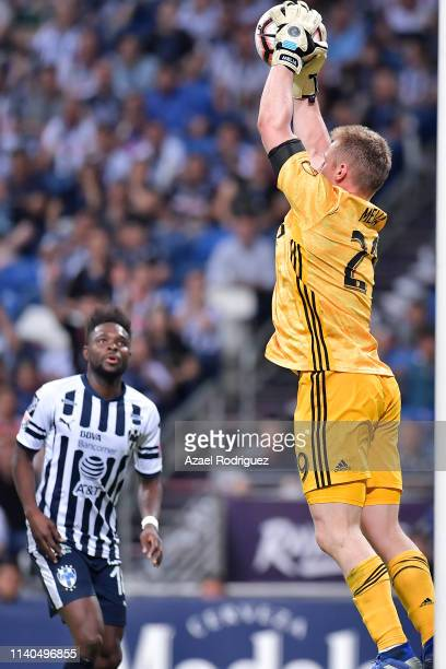 Avilés Hurtado of Monterrey observes as Tim Melia goalkeeper of Sporting KC catches the ball during the semifinal match between Monterrey and...